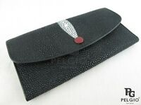 PELGIO Real Genuine Stingray Skin Leather Women Clutch Wallet Purse Black & Red