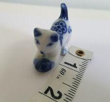 Vintage Tony Cat Miniature Blue & White Porcelain Dollhouse Display Cabinet A4