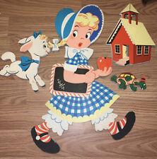Vintage Nursery Room Art Wall Wood Characters Little Bo Peep Sheep