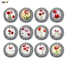 12pcs Design Multi Pattern 18mm Glass Snap Chunk Button for Snaps Jewelry Kz0433
