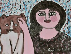 Anderson Johnson Painting African American Self Taught Folk Outsider Lady w/ Cat