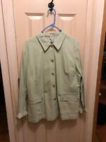 Stretch Cotton Light Green Safari Jacket By Sigrid Olsen Sport XL