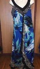 Women Long Maxi Summer Dress Blue White Black Trim XL New NWT Asym Hem Style Co