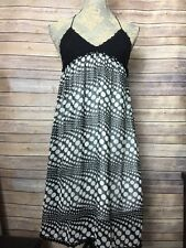 A'Reve Anthropologie Crochet Black White Polka Dot Dress Boho Cute SZ S