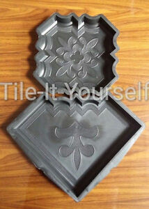 CONCRETE PAVING INTERLOCKING GARDEN PATH SLAB BRICK PLASTIC FLOOR TILE MOULD