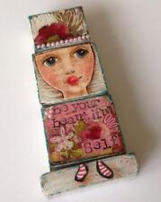 Original Mixed media WOODEN BLOCKS ART DOLL by Janet Harrison Art, UK