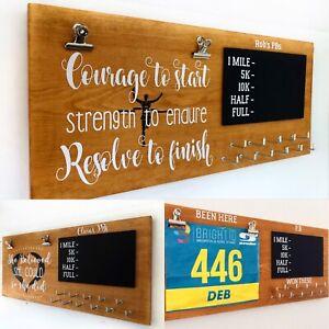 Personalised Runner PB/5k/10/Half/Marathon/Running Wooden Medal hanger/holder