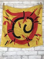 """Vintage Silk Scarf Abstract Bold Print With Gold Red and Black 23x23"""""""