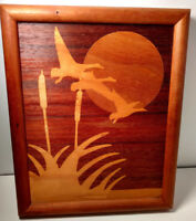 Magnificant  Inlay Flying Geese Wood Picture Framed 8 1/2 x 10 1/2