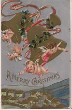 Merry Christmas Gold Bells Cherub Angels Holly Ribbons Silver PM 1908 Postcard