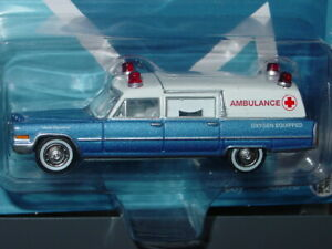 JOHNNY LIGHTNING 1966 66 CADILLAC COLLECTIBLE AMBULANCE -Blue & White, MIP