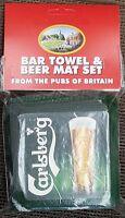 Carlsberg Cotton Bar Towel and 10 Beermats (pp)