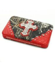 MOSSY OAK LICENSED CAMOUFLAGE RHINESTONE CROSS CLUTCH WALLET - RED