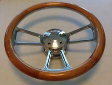 """Steering Wheel ALDER WOOD 1/2 Wrap 14"""" w/ Adapter + Horn 70-88 AMC Javelin Pacer"""