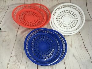 """Vintage ? Lot of 6 Red Blue White Patriotic Plastic Paper Plate Holders 9"""""""