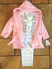 Primark Baby Girl Pink 3 Piece Pjs Pyjamas Dressing Gown Comforter Toy 12-18 Mth