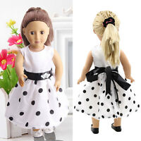White Summer Party Handmade Dress Doll Clothes For 18 Inch Doll Wedding Dress