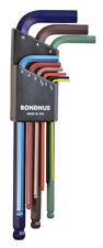 1.5 - 10mm Long Arm Hex End L-Wrenches 9pc Set Color Guard™ Bondhus USA #69499