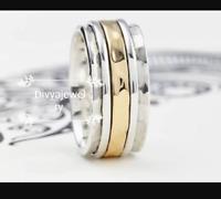 Solid 925 Sterling Silver Spinner Ring Meditation Ring Statement Ring Size sr686