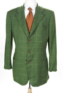 Kiton  Mens Cashmere Three Button Button Blazer Green Size 42