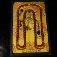 """17.32"""" China old antique Qing Dynasty rare gules Cat eye court beads Necklace"""