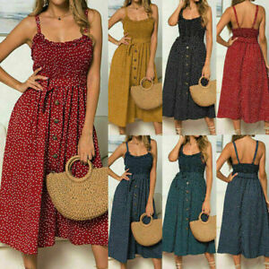 Womens Holiday Strappy Polka Dot Midi Dress Ladies Summer Beach Button Sundress