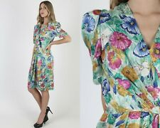 Vintage 80s Bright Floral Dress Draped Wrapped Bodice Deep V Garden Flowers Mini