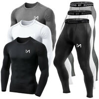 Mens Sports Underwear Set Compression Base Layer Top & Pants Fitness Long Johns