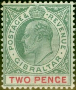 Gibraltar 1903 2d Grey-Green & Carmine SG48 Fine Very Lightly Mtd Mint