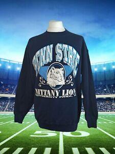 Penn State Nittany Lions Sweatshirt Navy Large Print Savvy USA XL Vintage 90s