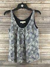 Ann Taylor Loft Women's Blue Floral Sleeveless Blouse Size XS