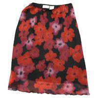 NWT Worthington Red & Black Floral Knee Length Skirt Women's Size 10P