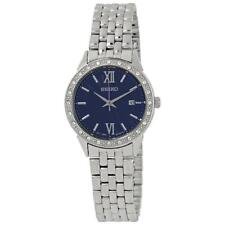 Seiko SUR691P1 Ladies Swarovski Crystal Set Blue Dial Date Dress Watch RRP £230