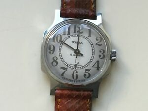 USSR MADE Wrist watch  Pobeda 1980xx NOS serviced + genuine python strap