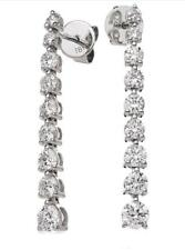 1.50ct F VS Graduated Round Brilliant Cut Diamond Drop Earrings, 18ct White Gold