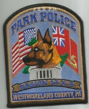"""Park Police - Reg.-13 K-9   # 1, PA  (3.5"""" x 4.5"""") shoulder police patch (fire)"""