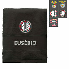 SL BENFICA PERSONALIZED BLACK BATH SHEET 100% COTTON - NAME AND MONOGRAM