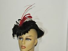 1940's Black Felt Tilt Hat w Long Red Feather sz 22