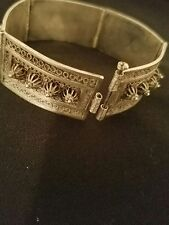 Vintage Sterling Antique Middle Eastern Palestine Cuff Bangle Link  Bracelet