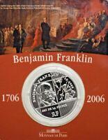 2006 BENJAMIN FRANKLIN 300th Anniversary 1/4 Euro 22.2g Silver Proof Coin