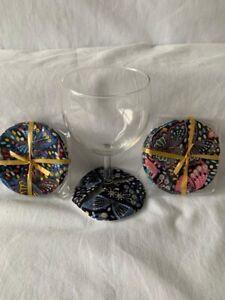Wine/gin/champagne glass fabric coasters set of 4
