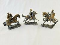 lot of 3 Myths & Legends, Summit Collection Knight on Horse pewter figurine READ
