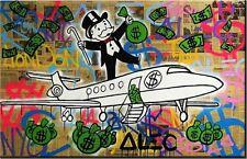"Alec Monopoly Mr Brainwash Oil Painting on Canvas Graffiti art Airplane 28x36"""