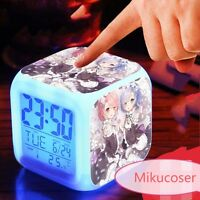 Collection Re Zero Life Anime Cosplay Rem Ram Change Colorful Touch Alarm Clock