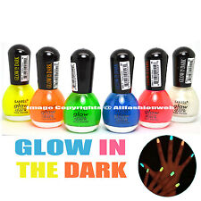 SANTEE GLOW IN THE DARK LOT OF 6 MINI BOTTLE NAIL POLISH LACQUER COLLECTION