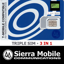 SIMPLE MOBILE Triple SIM Card  3 in 1 • GSM 4GLTE • T-Mobile Network MVNO • NEW