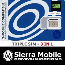 SIMPLE MOBILE Triple SIM Card  3 in 1 • GSM 4GLTE • T-Mobile Network MVNO • NEW