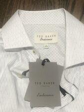 TED BAKER Endurance slim fit 15 34/35 CRISP WHITE Stripped dress shirt NEW W Tag
