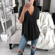 Women Summer V Neck T Shirt Short Sleeve Tunic Casual Solid Blouse Loose Tee Top