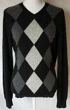 Apt 9 Mens Medium 100% Cashmere Sweater Black Argyle Diamond Classic V-Neck